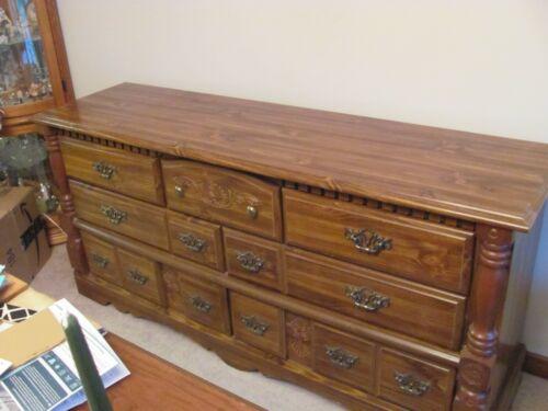 "Oak Laminate Long 7-drawer Dresser Seven Drawers 66"" Long- Pickup Only!"