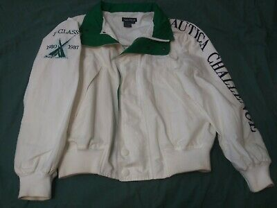 Nautica J Class Challenge Men's White & Green Hooded Jacket Size L in Exc Cond