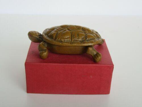 Vintage Cast Iron Wilton Gold Painted Cast Iron Turtle Match Safe w/ Orig. Box