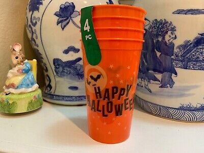 TRICK OR TREAT plastic 19.2 fl.oz.party drinking cups 4-pack Halloween Bats Wow