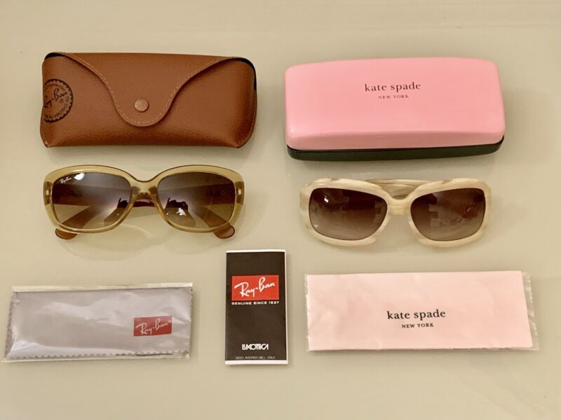 HTF Ivory & Amber Ray Ban Jackie Ohh & Kate Spade Carla Gradient Lens Sunglasses