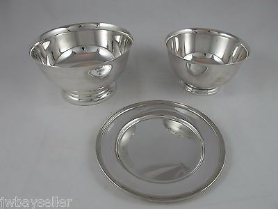 Vintage Silver Plate Footed Bowls Saucer Small Plate Set of 3