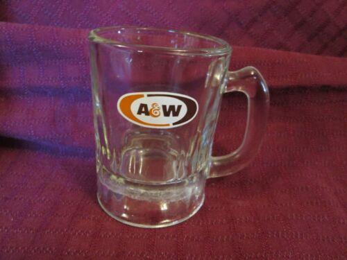 "Vintage 3 1/4"" A&W Clear Glass Mug Handled Logo 2 1/4"" in Diameter"