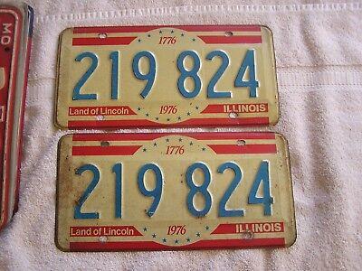 1976 Illinois  Bicentennial License Plate Plates Set