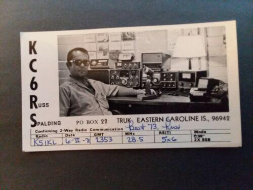 TRUK, EASTERN CAROLINE ISLANDS- OPERATOR & EQUIPMENT PHOTO- KC6RS- 1971- QSL