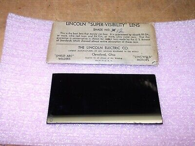 Vintage Lincoln Super Visibility Welding Helmet Lens 2 X 4 14 Shade No.12