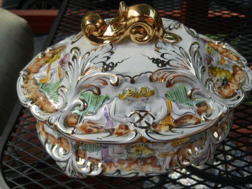 Antique ORNATE Soup Tureen / Porcelain with gold paint / PORTUGAL / ELPA