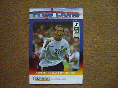 ENGLAND V SWEDEN FREE LIONS, 20/6/2006, ISSUE 58, WORLD CUP 2006