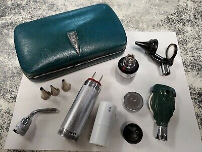 Welch Allyn Otoscope In Case 235 115 Curved Light Kit Opthalmoscope Handle