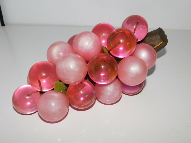 VTG BUNCH ACRYLIC GRAPES 2 TONE PINK COLOR