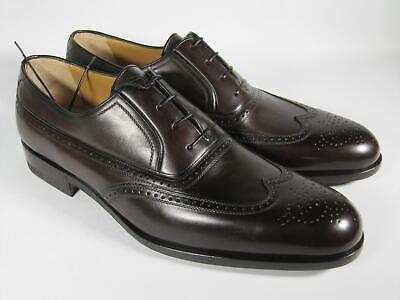 A. Testoni Men's Shoes Dark brown Leather Derby BLACK label 8 UK/ 9 US NEW