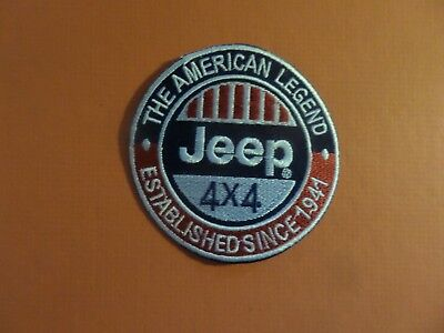 "JEEP"" 4 X 4 AUTOMOTIVE bLUE & RED Embroidered 3 x 3 Iron On Patch"
