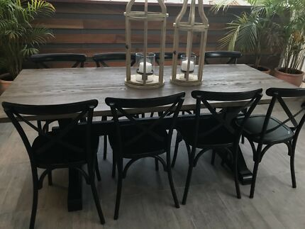 Dining table, hamptons dining table, dining chairs
