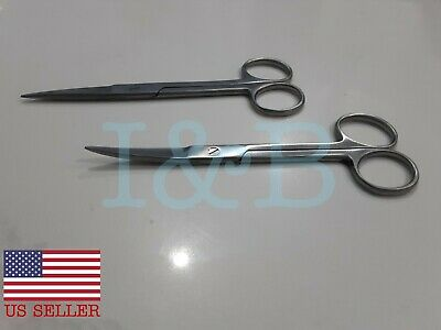 2 Iris Scissors 5.5 Curved Straight Surgical Dental Instruments