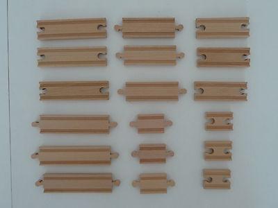 point-kids Holzeisenbahn 18x Schiene Gerade Mix Holz Set 18 Teile NEU