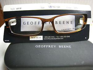 GEOFFREY BEENE EYEGLASS FRAMES Style  WHIM in BROWN  53-16-135 W/ Case