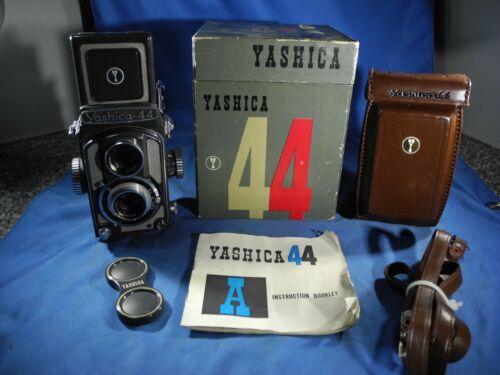 Yashica 44 A Dual Lens Camera 60mm Lenses w/ Carrying Case Original Box & Manual