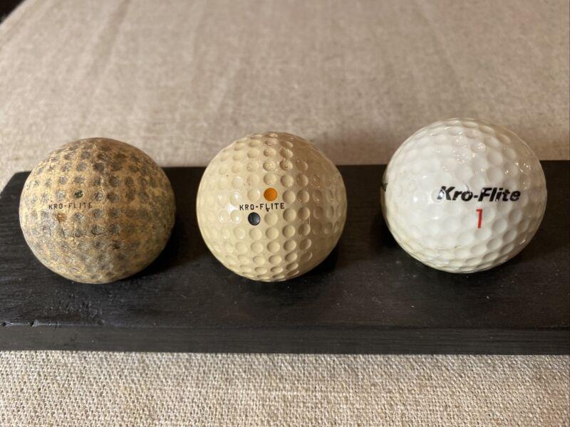 3 Vintage Spalding Kro-Flite Golf Balls. 2 circa 1920s, 1 circa 1960-70s.