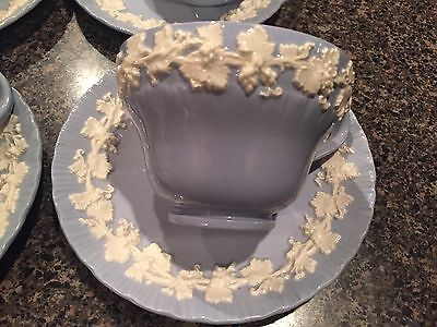 3 Wedgwood Queensware Cream On Lavender Blue Shell Edge- TEA CUPS AND SAUCERS