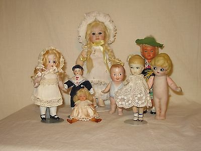 Mixed Lot of 7 Vintage Small Dolls Celluloid, Bisque and Porcelain Some TLC