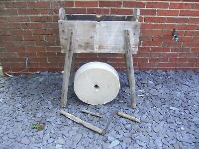 Vintage Austrian Sandstone Grinding Wheel & Trough On Stand