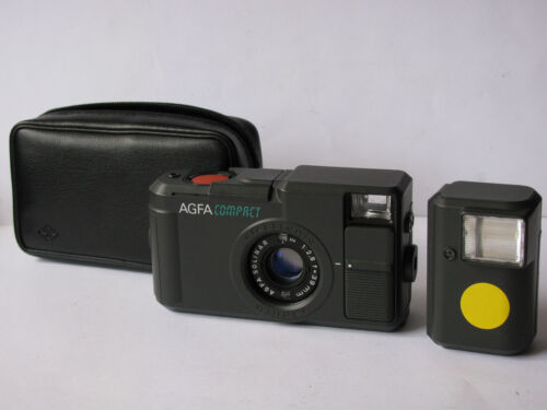 Vintage German AGFA COMPACT 35mm Film Camera, Flash, Case - Handsome - Very RARE