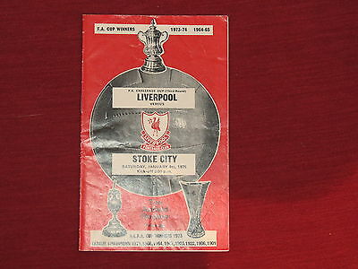 Liverpool v Stoke City  FA Cup 3rd Round 4/01/75