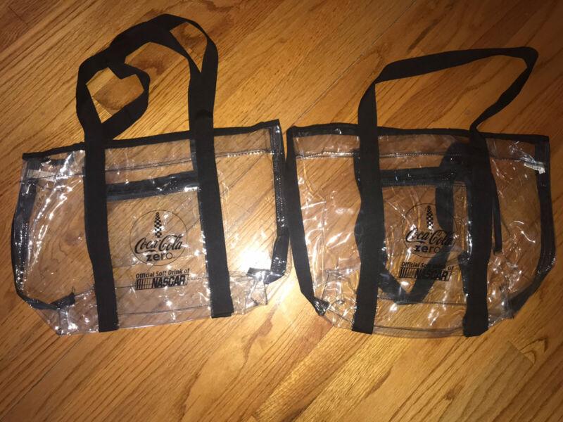 Coca-Cola Zero Nascar Clear Bag Set Of 2 NEW