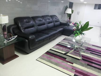 3-Seater Leather Sofa with Chaise Cecil Hills Liverpool Area Preview