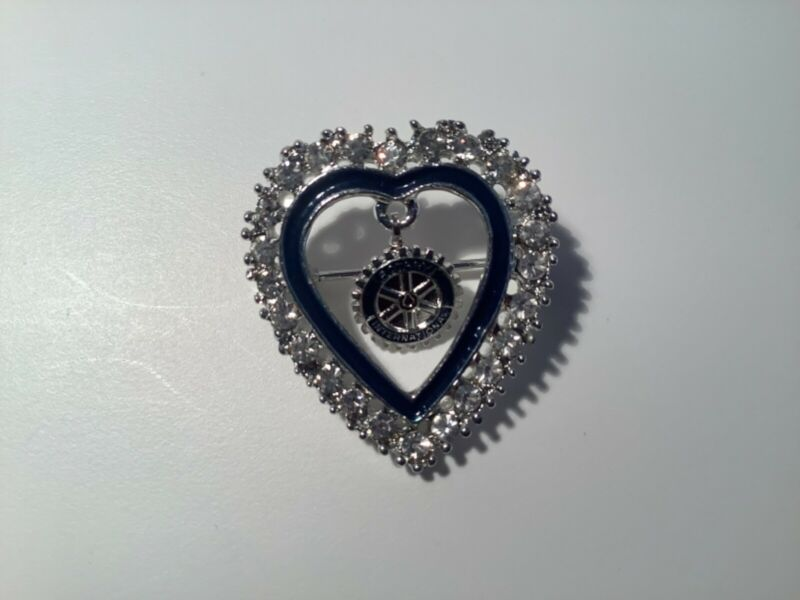 Vintage Rotary International Rhinestone Heart Brooch Pin with Rotary Lavalier