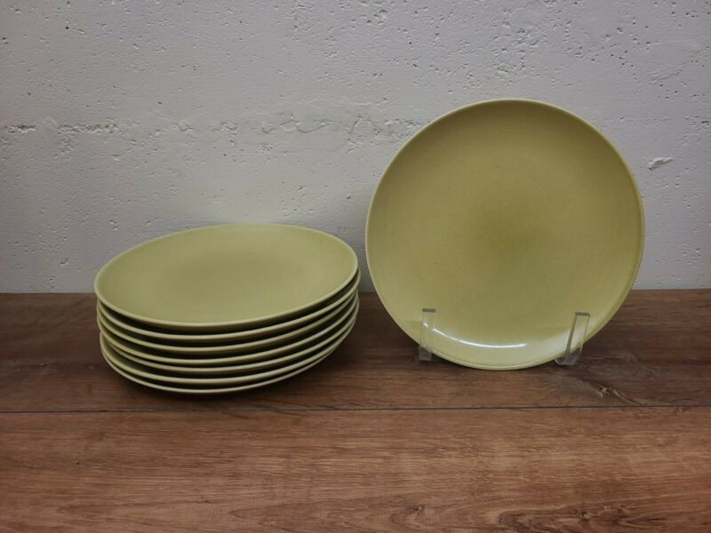 "8 Russell Wright Chartreuse 9 1/4"" Dinner? Plates"