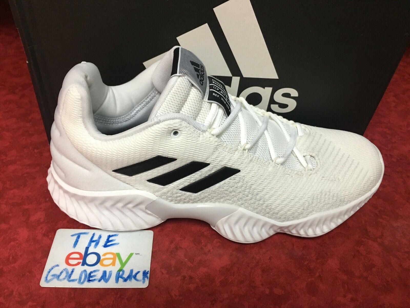Adidas Pro Bounce Low BB7410 Men Basketball Shoes White/Black SZ 11