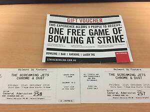 2 X The Screaming Jets Chrome & Dust Concert Tickets Lower Belford Singleton Area Preview