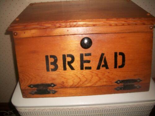 """Vtg Wooden Bread Box Front Drop Door w/Hinges~Heavy 16 1/2""""x12""""x8 1/2""""~1970"""