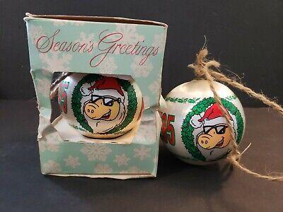 Set of 2 Vintage Christmas Ornament of KSHE 95 REAL ROCK RADIO Pig 1987