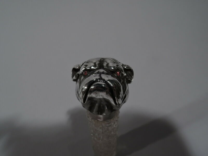 Unger Perfume - Antique Bulldog Bottle - American Cut Glass ABC Sterling Silver