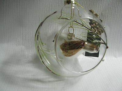 """5"""" Clear Glass Ball  Bird Cage Ornament Mercury Glass Bird Hanging in  Christmas"""