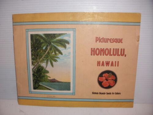 Vintage Honolulu Picturesque Hawaii Book 16 color pictures photo diamond head