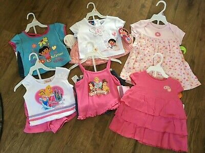 NWT Baby / Toddler Girls Size 9-12 months Summer clothes Lot of 6 Outfits Disney