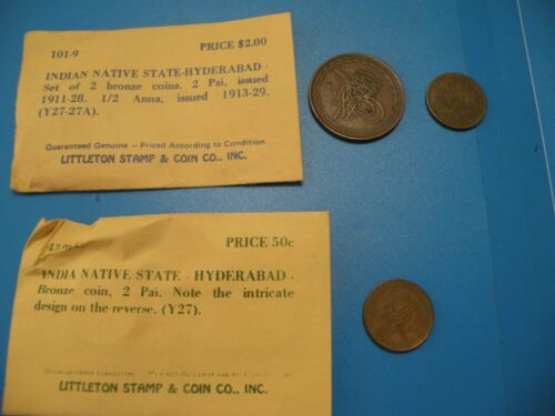 INDIA HYDERABAD 2 PAI & 1/2 Anna COPPER COIN  Littleton Stamps Coin C9