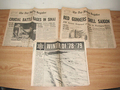 Lot Of 3 Original 1966  1973 And 1979 Des Moines Register Newspapers