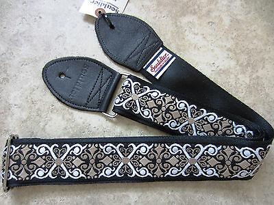 guitar strap constantine black white taupe vintage