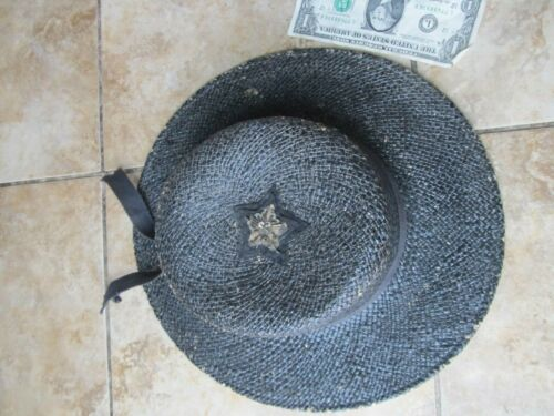 EXTREMELY RARE Spanish American War ENEMY BLACK STRAW HAT, Navy Combat Souvenir