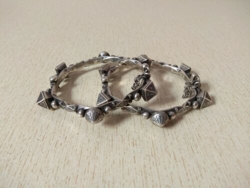 Pair of Silver Bracelet from Morocco, Saharian Bracelets, Moroccan Jewelry