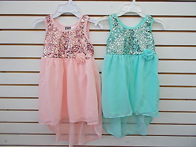 Girls Pogo Club Light Pink Or Aqua Mini Maxi Dress W  Sequin Bodice Size 4   6X