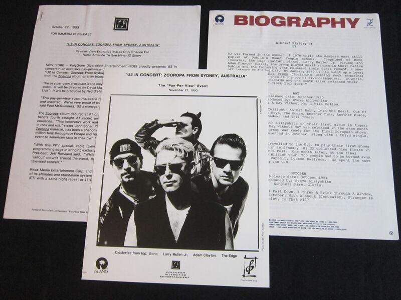 U2 'IN CONCERT: ZOOROPA FROM SYDNEY' 1993 PRESS KIT--PHOTO