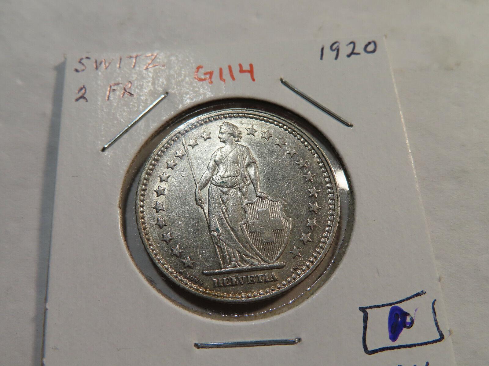 G114 Switzerland 1920 2 Francs AU - $18.09