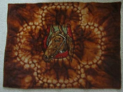 CHASE 1900's Mohair CARRIAGE/SLEIGH/LAP BLANKET 44x59 Glass Eye Horse Black&Rust