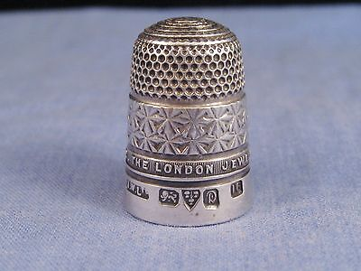 JAMES WALKER ANTIQUE EDWARDIAN 1929 STERLING SILVER CHESTER SEWING THIMBLE