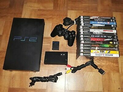 Sony PlayStation 2 PS2 FAT Black Console (SCPH-30001): w/ 14 Games Bundle